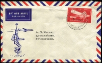Lot 295:1964 2/3d Air Mail Anniversary BW #424, tied by Frankston Heights (Vic) datestamp to 1964 (July 24) small airmail cover to Germany. Very fine commercial usage.