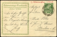 Lot 1441 [2 of 2]:1913 (Nov 9) use of 5h Franz Joseph illustrated Postal Card flown aboard Zeppelin 'Sachsen' with fine strike 'ZEPPELIN-SCHIFF SACHSEN/9NOVEMBER1913/FLUGPLATZ HAIDA BOHMEN' datestamp, fine condition.