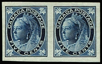 Lot 1466:1897-98 4-Maple Leaves 5c deep blue/bluish variety Imperforate pair SG #146a, fresh mint, Cat £475.