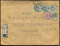 "Lot 1738 [1 of 2]:1931 registered cover to PMG'S Dept Melbourne, sent by ship to Perth and thence ""By AIRMAIL from Perth"" endorsed ""42gr"" & 1½oz, with KGV 30c strip of 3 plus 5c & 3c tied by Colombo 'NO6/31' datestamps, Perth & Melbourne backstamps, fine condition."