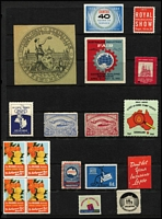 Lot 112 [3 of 4]:Australia colourful array including 1936 Melbourne International Motor Show block of 4, 'REDEX' labels, charity labels including 1951-59 1/- Adelaide Children's Hospital Appeal labels, Centenary & Exhibition labels, etc. (60+)