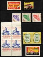 Lot 112 [1 of 4]:Australia colourful array including 1936 Melbourne International Motor Show block of 4, 'REDEX' labels, charity labels including 1951-59 1/- Adelaide Children's Hospital Appeal labels, Centenary & Exhibition labels, etc. (60+)