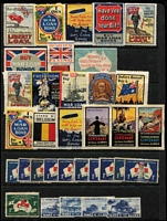 Lot 114 [1 of 2]:Australia: array with military bias including WWI Liberty Loan & War Loan labels, plus Gowrie labels, Centenary and Anniversary types, New Zealand 1907 Exhibition label, etc, some blemishes, generally fine. Colourful lot. (50+)