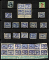 Lot 115:Australia: War Saving Stamp accumulation with KGV 6d unused, 6d 'Spitfire' P11 McCracken imprint block of 4 (rare, clipped perfs at top) unused, and mostly Perf 15 duplicated array, some on savings booklet fragments; also British National Savings stamp. (34 stamps).