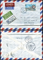 Lot 8 [2 of 4]:British Africa Covers with Tanganyika 1963 Uhuru set on 6 covers to Germany, 10/- & 20/- covers registered with express & special delivery labels; also KUT 1960 registered to Switzerland, Kenya 1977 registered to USA; also German East Africa Postal Cards x3 and a Belgian Congo Postal Card with 1919 Kigoma cancel.