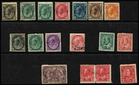 Lot 26:Canada 1897-1920s Mint Group with 1897 Jubilee 10c (paper hinge remains), 1897-98 Maples 4-Corners ½c 1c x2, 3c, 5c, 6c & 8c; 1898-1902 Maple 2-Corners ½c, 1c & 2c plus 2c on 3c; also a few KEVII/KGV oddments, part to large-part gum, condition variable with some heavy hinge remnants, Cat £600 approx. (17)
