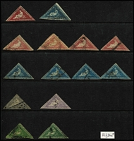 Lot 23:Cape of Good Hope 1855-64 Triangles selection on Hagners with 1d x5, 4d x5, 6d x2 & 1/- x2 (one poor), mixed margins and condition, various cancels, STC £2,400 approx. (14)