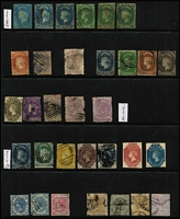 Lot 24 [1 of 4]:Ceylon 1857-1940s Collection mostly used with 1857-59 imperf 1d x3 & 2d x3, 10d (faults) & 1/- (cut-into) plus 4d & 2/- reproductions on thick card, perforated Wmk Star to 1/- x2, Wmk Crown CC with 8d & 2/-, QV Sidefaces with range of surcharges to 1r12c on 2r50c, 1898 1r50c on 2r50c, 1899-1900 2r25c, KEVII to 75c, KGV to 10r x2; early QV issues in very mixed condition, improves therafter.