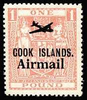Lot 32 [1 of 2]:Cook Islands 1892 2½d Federation SG #3 used (Cat £38) and 1966 £1 Arms Airmail overprint SG #193 MUH (Cat £13).