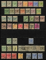 Lot 31 [2 of 5]:Cyprus 1880s-1960s on Hagners mint or used with QV 1881 ½d on GB 1d red Pl 205 mint, 1881 Crown CC ½pi x2, 1pi & 2pi used, 1882-86 Crown CA Die I ½pi dull green & 30pa mint, used to 6pi x4 & 12pi, 1882 Crown CC '½' on ½pi SG #23 used, 1892-96 Die II 9pi & 18pi mint, 6pi sepia & green & 9pi used, 1902 KEVII Crown CA ½pi, 30pa, 1pi, 9pi & 12pi mint, 1904-10 MCA to 9pi x3, 12pi & 18pi used, KGV 1912-15 MCA to 9pi x2, 12pi & 18pi used plus mint 9pi x2 (both shades), 1921-23 Script CA to 6pi & 9pi mint, 1924-28 to 90pi mint plus 12pi & 18pi used, 1928 Pictorials to 45pi mint & used to 18pi, 1934 Pictorial set mint, 1935 Jubilee set mint, KGVI Defintives to £1 used, QEII including 1962 set to £1 MVLH, etc; few condition issues, generally fine. Good lot. (few 100s)