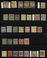 Lot 34 [2 of 3]:Fiji 1871-1930s Array on Hagners mostly used with range of 1870s-90s Monograms including 'VR' overprints and surcharges including 1874 2c on 1d blue SG #16 & 2c on 1d SG #19 (thins) used, 1876-77 optd 'VR' 6d Wove Paper and Laid Paper both mint, 1878-99 6d rose P12½ SG #38 mint, 1881-99 1/- x2 & 5/- x3, 1891 2½d on 2d SG #71 mint, 1903 5/- pen-cancelled x2; few revenues 1871 12c on 6d optd 'D', KGV optd 'R' 2/6d, 5/- & £1; 19th century issues in quite mixed condition so inspection recommended. (95)