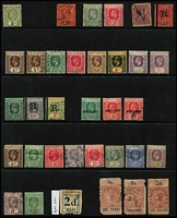 Lot 34 [3 of 3]:Fiji 1871-1930s Array on Hagners mostly used with range of 1870s-90s Monograms including 'VR' overprints and surcharges including 1874 2c on 1d blue SG #16 & 2c on 1d SG #19 (thins) used, 1876-77 optd 'VR' 6d Wove Paper and Laid Paper both mint, 1878-99 6d rose P12½ SG #38 mint, 1881-99 1/- x2 & 5/- x3, 1891 2½d on 2d SG #71 mint, 1903 5/- pen-cancelled x2; few revenues 1871 12c on 6d optd 'D', KGV optd 'R' 2/6d, 5/- & £1; 19th century issues in quite mixed condition so inspection recommended. (95)