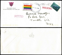 Lot 37 [2 of 2]:Gay Kingdom of the Coral Sea 2006 cover to Australia with 'HEAVEN 0000/GLK' Post Office datestamp, plus a MUH sheetlet of 9 stamps. Quite scarce! [Territory created in 2004, on group of mostly uninhabited islands in Coral Sea, dissolved in 2017 following the vote to legalize same-sex marriage]