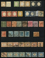 Lot 47 [1 of 4]:Italy 1862-1920s Array on Hagners with 1862 Newspaper issue 2c yellow & 2c orange-buff unused, 1863-65 2l pale scarlet x2 used, 1870-1925 Postage Dues to 5l & 10l x2, 1875 5l Official unused, 1884 Parcel Post 1l25c x2 used and 1890 Surcharges 2c on 1l25c x2 unused & 2c on 1l75c used, 1910 Naples/Sicily Plebiscite 5c+5c used & 10c+10c mint, 1910 Southern States Plebiscite set mint (Cat £465), etc; collection variable, many are fine. (140)