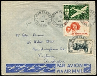 Lot 49 [2 of 3]:Madagascar 1940s-50s Airmail Covers to Australia x3, two with 57fr frankings including 50fr Air SG #273, the other with 69fr franking including 25fr & 15f Joffre and 5fr Mother & Child x5. Nice trio. (3)