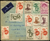 Lot 49 [3 of 3]:Madagascar 1940s-50s Airmail Covers to Australia x3, two with 57fr frankings including 50fr Air SG #273, the other with 69fr franking including 25fr & 15f Joffre and 5fr Mother & Child x5. Nice trio. (3)
