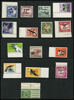 Lot 57 [2 of 2]:Niue 1902-1967 Selection mostly mint with 1902 1d pair, right hand unit varieties 'U' & 'E' spaced and No stop after 'PENI' SG #9d, also KGV Heads to 1/-, 1944 Pictorial set, plus a few decimal issues; also Nauru 1968 Overprints set MUH; mostly fine. (54)