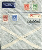 Lot 14 [2 of 5]:Papua/New Guinea Covers with 1937 Coronation set on A.C. Campe illustrated FDC, another set on 1937 (Sep 1) Guinea Airways registered cover; New Guinea 1937 Coronation set on plain Wewak registered FDC; also British Solomons 1937 Coronation registered FDC and 1951 Melbourne-Christchurch flight cover.