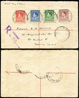 Lot 14 [3 of 5]:Papua/New Guinea Covers with 1937 Coronation set on A.C. Campe illustrated FDC, another set on 1937 (Sep 1) Guinea Airways registered cover; New Guinea 1937 Coronation set on plain Wewak registered FDC; also British Solomons 1937 Coronation registered FDC and 1951 Melbourne-Christchurch flight cover.