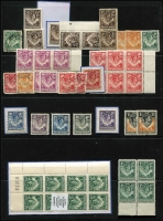 Lot 64 [3 of 3]:Rhodesia Array on Hagners with 1892-97 Arms to 8d & 4/-, 1898-80 Arms to 10/- x3 & £2, few Double Heads to 6d & 1/-, Northern Rhodesia with KGVI low value mint blocks, also few Southern Rhodesia . (few 100s)