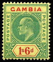 Lot 1536:1902-05 KEVII 1/6d green & carmine/yellow variety Dented frame SG #53a, fine mint. Cat £400.