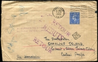 Lot 1963 [1 of 2]:1948 (Nov 4) inwards cover addressed to Caroline Island with 'RETURNED TO SENDER/SERVICE INTERRUPTED' two-line handstamp in violet & other RTS handstamps, Honolulu, Tarawa & Honolulu (return transit) backstamps.