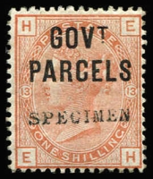 Lot 1549:1883-86 Government Parcels: 1/- orange-brown Plate 13 with Type 9 'SPECIMEN' overprint SG #O63s, fine, Cat £325.