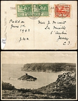 Lot 449 [3 of 4]:Jersey 1942-43 Local Covers comprising 1942 with ½d Arms strip of 6, 1943 x2, each with 2d & 1½d Scenes, 1943 PPC with Scenes ½d x2 & 1d, condition variable with some toning. (4)