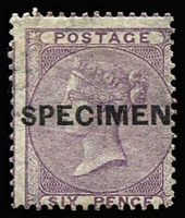Lot 895:1855-57 No Corner Letters Wmk Emblems 6d deep lilac with Type 4 'SPECIMEN' overprint SG #69s, fresh example, strong original colour, large-part gum, Cat £600 (Cat £1,800 as an unoverprinted stamp).