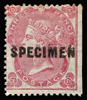 Lot 896:1862-64 Small Uncoloured Corner Letters 3d deep carmine-rose with Type 5 'SPECIMEN' overprint SG #75s, straight edge at right, large-part gum, Cat £500 (Cat £4,800 as an unoverprinted stamp).
