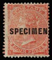 Lot 897:1862-64 Small Uncoloured Corner Letters 3d deep carmine-rose with Type 5 'SPECIMEN' overprint SG #79s, rich original colour, without gum, Cat £425 (Cat £2,200 as an unoverprinted stamp).