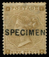 Lot 898:1862-64 Small White Letters 9d bistre Plate 2 [TA] Type 6 'SPECIMEN' overprint SG #86s, good colour, without gum, Cat £725 (£5,250 as an unoverprinted stamp).