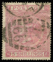 Lot 900:1867-83 High Values Wmk Maltese Cross 5/- pale rose Plate 2, used SG #127.
