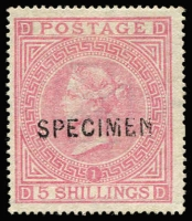 Lot 932:1867-83 Maltese Cross 5/- pale rose Pl 1 with Type 6 'SPECIMEN' overprint SG #127s, without gum, fine, Cat £1,000 (Cat £11,000 as an unoverprinted stamp).