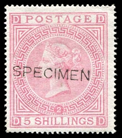 Lot 901:1867-83 Wmk Maltese Cross 5/- pale rose Pl 2 with Type 8 'SPECIMEN' overprint SG #127s, without gum. Fine example, Cat £1,750 (Cat £18,000 as an unoverprinted stamp).