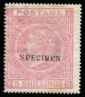 Lot 902:1867-83 Wmk Maltese Cross 5/- pale rose Pl 2 with Type 9 'SPECIMEN' seriffed overprint SG #127s, minor shallow thins & a few tones, without gum. Cat £1,750 (Cat £18,000 as an unoverprinted stamp).