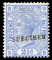 Lot 1034:1880-83 Wmk Imperial Crown 2½d blue Pl 23 with Type 9 'SPECIMEN' overprint SG #157s, without gum, Cat £175.