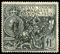 Lot 1559:1929 £1 UPU SG #438, repaired/reinforced perfs at lower right, fine appearance, Cat £550.