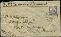 "Lot 1350 [2 of 5]:1900-51 Cover Selection comprising 1900 registered to Germany franked with Marshall Islands opts on 20pf and 25pf tied by Jaliut cds, 1914 to Melbourne ""Per S.S. Canadian Transport"" franked with 20pf tied by Nauru cds, 1937 and 1950 OHMS stampless covers to Melbourne or USA, 1951 registered cover to Adelaide franked with Ships set to 1/-; odd blemish, generally fine. (5)"