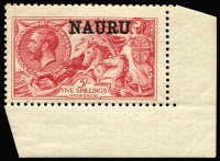 Lot 1348:1916-23 Seahorses DLR Printing 5/- bright carmine SG #22 corner marginal single with column 4 flaw Damaged left serif of A of NAURU, mild uniformly aged gum.