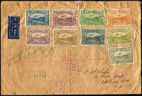 Lot 495 [1 of 2]:1939 (May 13) Attractively franked cover to USA with Bulolo Air ½d to 1/- (ex 2d) tied by Rabaul '13MAY39' datestamps, Rabaul registration and US customs handstamps, on reverse Rabaul, Townsville, Sydney and Boston & Fitchburg (USA) backstamps, some small faults.