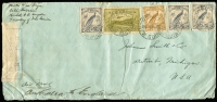 "Lot 414 [1 of 2]:1940 (Mar 20) cover endorsed ""Cath Mission/Kambot, PO Angoram/Territory of New Guinea"" and ""Air Mail/Australia to England"" with Undated Birds 3d x3 & 6d and 4d Bulolo Air tied by Wewak '20MAR40' datestamps, censor tape & 'Passed by Censor/T.N.G. No.24' boxed handstamp in violet, Salamaua backstamp; small edge blemishes."