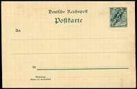 Lot 427 [3 of 4]:Postal Cards: unused with British New Guinea 1d Postal Card, Deutsch-/Neu-Guinea ovpts on 5pf Card, 10pf Card plus 10pf+10pf Reply Card and 5pf Yacht postal card; some mild aging. (5)