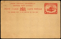Lot 427 [1 of 4]:Postal Cards: unused with British New Guinea 1d Postal Card, Deutsch-/Neu-Guinea ovpts on 5pf Card, 10pf Card plus 10pf+10pf Reply Card and 5pf Yacht postal card; some mild aging. (5)