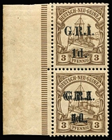 Lot 1400:1914-15 'G.R.I.' and Value 5mm Apart 1d on 3pf brown vertical marginal pair, lower unit variety Surcharge double [Stg 2, Pos 1] SG #16e, mild aging in selvedge, otherwise fine mint, Cat £1,600+. Holcombe Certificate (1998). Ex Marquess of Bute.