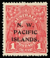 Lot 1364:1915-16 KGV Single Wmk 1d reddish-pink (G15) BW #71F (SG #67) unused, Cat $125 (as unoverprinted stamp). Starling Certificate (2017).