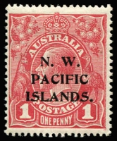 "Lot 1363:1915-16 KGV Single Wmk 1d brown-red (G32) BW #71W (SG #67) fine mint, Cat $500 (as unoverprinted stamp). Starling Certificate (2017) states ""this shade is common with NWPI overprints"" ."