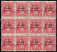 Lot 1362:1915-16 KGV Single Wmk 1d aniline carmine (G33) block of 12 (4x3) [V/31-34, 37-40, 43-46] including listed varieties at V/31& V/38 BW #71(3)h&i SG #67, fresh MUH, Cat $950+ (as an unoverprinted block).