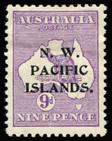 Lot 1537:1915-16 Kangaroos 2nd Wmk 9d violet Die II SG #89, variety Break in left frame opposite 'A', and white flaw below 'AU' [1R30] SG #89, hinge remainders, Cat $950 (as an unoverprinted stamp).
