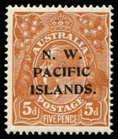 Lot 906:1918-23 KGV Single Wmk 5d brown SG #105 variety Damaged NW corner - State IV [1L56], fresh MUH, Cat $200+ (as an unoverprinted stamp, BW #123qc).